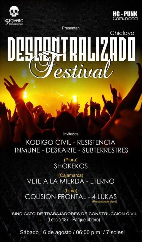 DESCENTRALIZADO FESTIVAL - CHICLAYO -AGENDA CIX