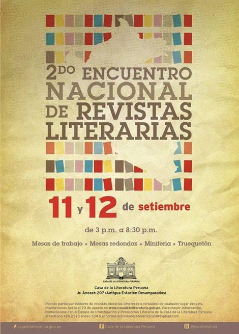 : CONVOCATORIA PARA EL 2° ENCUENTRO NACIONAL DE REVISTAS LITERARIAS - AGENDA CIX