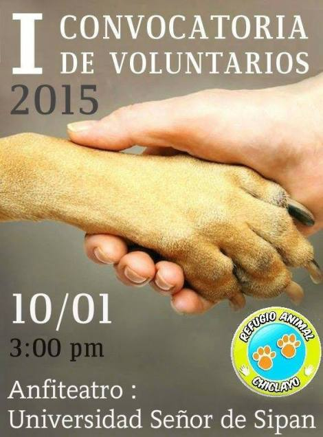 I CONVOCATORIA DE VOLUNTARIOS 2015 – REFUGIO ANIMAL CHICLAYO - agenda cix